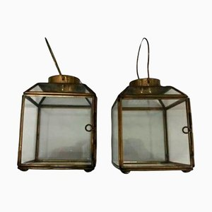 Small Table Lanterns in Brass and Crystal, Set of 2