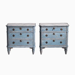 Late Gustavian Chests with 3 Drawers and Faux Marble Painted Top, 19th Century
