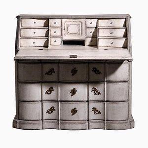 Scandinavian Bureau Desk with Curved Front with Original Hardware, Key & Lock, 1750s