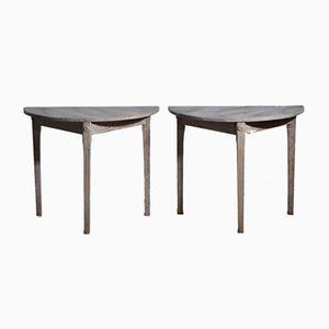 Swedish Demi-Lune Tables with Faux Painted Marble Top, 19th Century, Set of 2