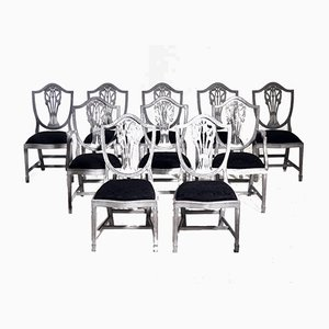 Scandinavian Richly Carved Chairs & Armchairs, Set of 10
