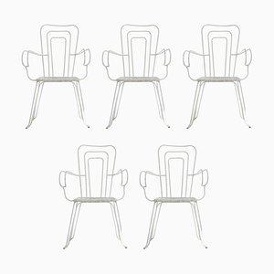 Sillas de jardín blancas con asientos de plástico tejido, años 60. Juego de 5