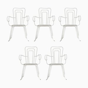 White Garden Chairs with Woven Plastic Seats, Italy, 1960s, Set of 5