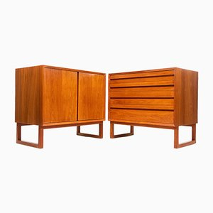 Mid-Century Teak Cabinet & Chest of Drawers by Poul Cadovius, 1960s, Set of 2