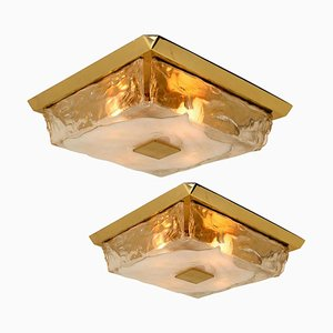 Square Flush Mount or Wall Light in Murano Glass from Kalmar, Austria, 1960s