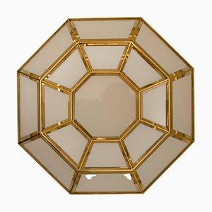 Octagonal Brass & Glass Flush Mount or Wall Light, 1970