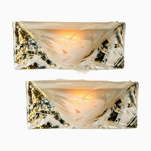 Murano Brass and Glass Wall Lights from Hillebrand, 1975, Set of 2