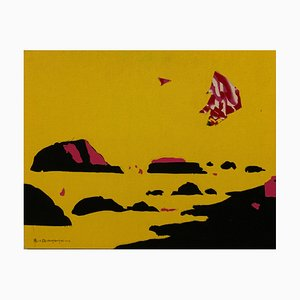 Zhang Hongmei, Yellow Landscape, 2016, Collage on Fabric