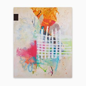 Carolina Alotus, Finding Bliss, 2020, Acryl, Sprühfarbe, Pastell, Stoff & Bleistift auf ungespannter Leinwand