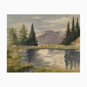 Louis Camille Gianoli, Lac de Montagne, 1933, Öl auf Karton