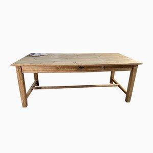 Mesa de comedor provincial francesa antigua de pino
