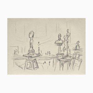 Alberto Giacometti, Sculptures Dans L'Atelier IV, Litografía sobre papel Arches