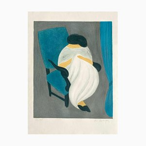 Pierre Boncompain, Femme a la Grande Robe Blanche, 1985, Litografía sobre papel Arches