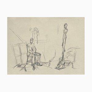 Alberto Giacometti, Jacques Dupin dans L'Atelier, Litografía sobre papel Arches