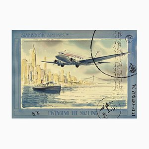 Jack Learoy, Starbrook Airlines, Winging the Skyline, 1995, Lithographie auf BFK Rives Papier