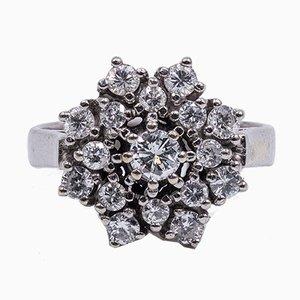 Vintage 14k White Gold Diamond Flower Ring, 1960s