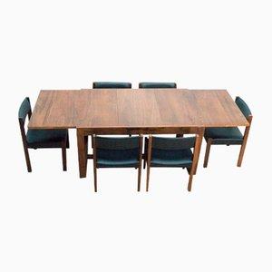 Mid-Century Uniflex Rosewood Hoffstead Dining Table & Chairs, Set of 7