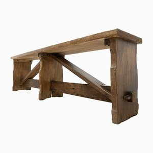 Vintage Oak Bench Rustic Country House Hall Bench