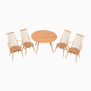 Mid-Century Goldsmith Esstisch & Stühle aus hellem Ulmenholz von Ercol