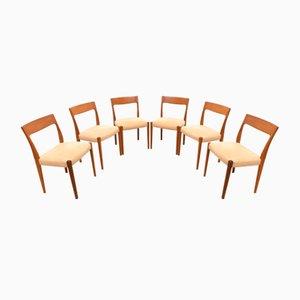Mid-Century Kontiki Esszimmerstühle aus Teak von Yngve Ekstrom für Troeds, 6er Set