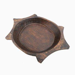 Antique French Treen Birch Platter Bowl, 19th Century