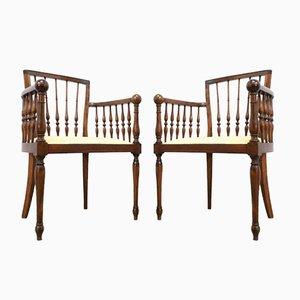 Antike französische Beistellstühle aus Bugholz, 2er Set