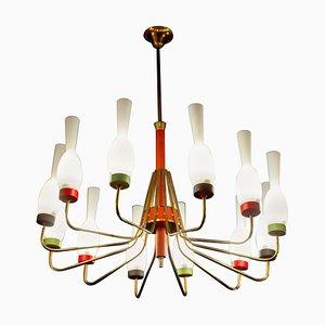 Lámpara de araña de latón y cristal de Murano de Stilnovo, Italy, años 50