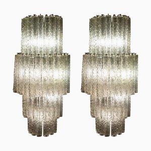 Apliques o lámparas de pared italianos grandes de cristal de Murano, años 70. Juego de 2