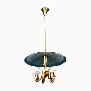 Art Deco Pendant Lamp in the Style of Pietro Chiesa for Fontana Arte, Italy, 1940s