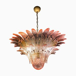 Lámpara de araña Palmette de cristal de Murano rosa
