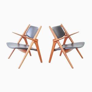 CH28 Sawbuck Lounge Chairs by Hans J. Wegner for Carl Hansen & Søn, Denmark, 1960s, Set of 2