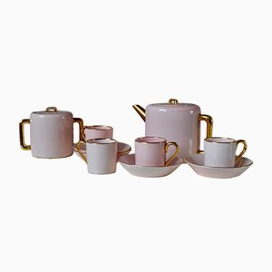 Art Deco Bohemian Style Tea Service in Pink and Gold, Set of 11