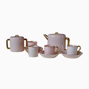 Servicio de té estilo bohemio Art Déco en rosa y dorado. Juego de 11