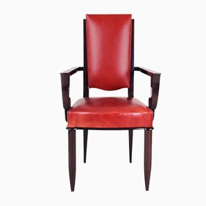 French Art Deco Red Leather Armchair by Jules Leleu, 1920s