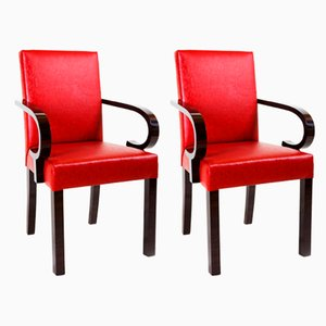 French Art Deco Red Leather Armchairs by Dominique, 1920s, Set of 2