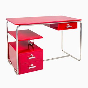 Bauhaus Chrome and Red Desk, Germany, 1930s