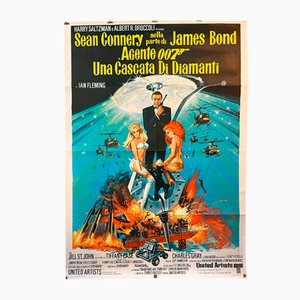 Italienisches Diamonds Are Forever Bond Filmplakat, 1970er