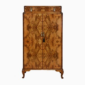 English Art Deco Figured Walnut Tallboy Chest of Drawers or Linen Press, 1930s