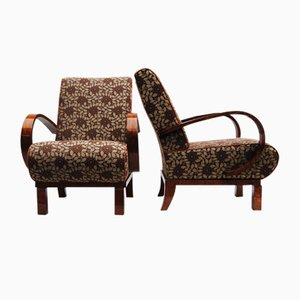 Art Deco Armchairs in Upholstery & High Gloss, Set of 2