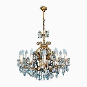 Lámpara de araña grande de cristal, años 50