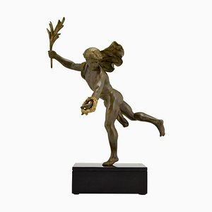 Emile Louis Picault, escultura antigua, hombre con rama de laurel, metal patinado y mármol