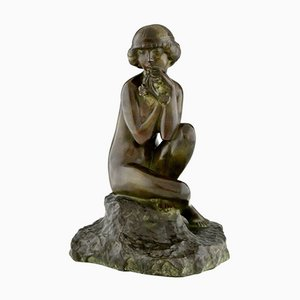Maxime Real Del Sarte, Art Deco Sculpture, Seated Nude with Flowers, France, 1920s, Bronze