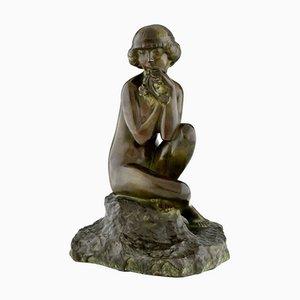Maxime Real Del Sarte, Art Deco Skulptur, Sitzender Akt mit Blumen, Frankreich, 1920er, Bronze