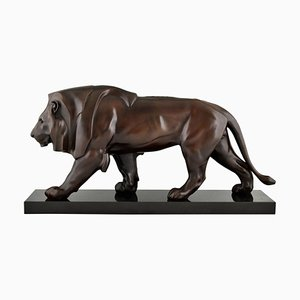 Max Le Verrier, Art Deco Style Sculpture, Walking Lion, Patinated Metal & Marble