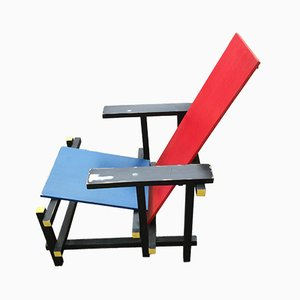Red and Blue Wooden Side Chair by Gerrit Rietveld for Cassina, 1980s