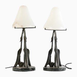 Französische Art Déco Tischlampen von Max Le Verrier, 2er Set