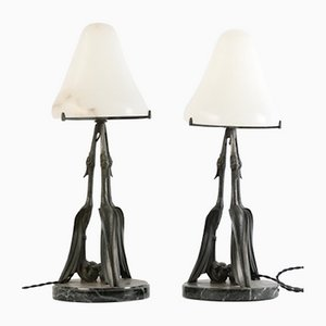 French Art Déco Table Lamps from Max Le Verrier, Set of 2
