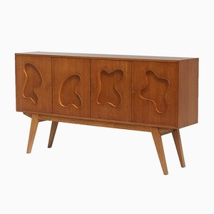 Oak Sideboard with Free Form Shaped Doors, 1950s