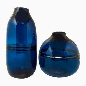 Jarrones de cristal de Murano azul de Seguso, Italia, años 60. Juego de 2