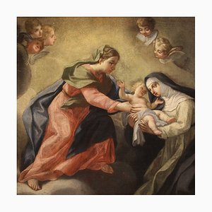 Virgin with Child and Saint, Antique Painting, 17th-Century, Oil on Canvas, Framed